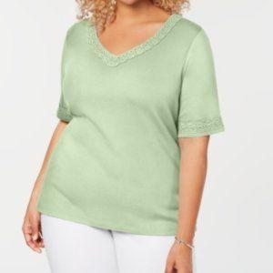 Karen Scott Womens Plus Cotton V-Neck T-Shirt 2X